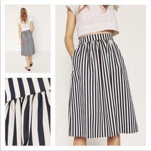 Zara Blue and White Striped Midi Skirt